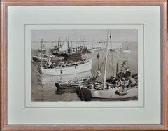 Harbour Jetty, Mevagissey, Cornwall. Original En Grisaille Watercolor. Marine