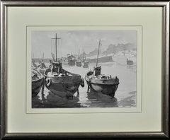 Low Tide, Mevagissey, Cornwall.Original En Grisaille Watercolour Painting.Marine