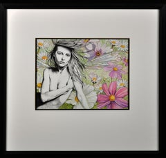 Siren. Original Contemporary.Watercolor Painting.Fairy.Mythical.LP Cover-esque