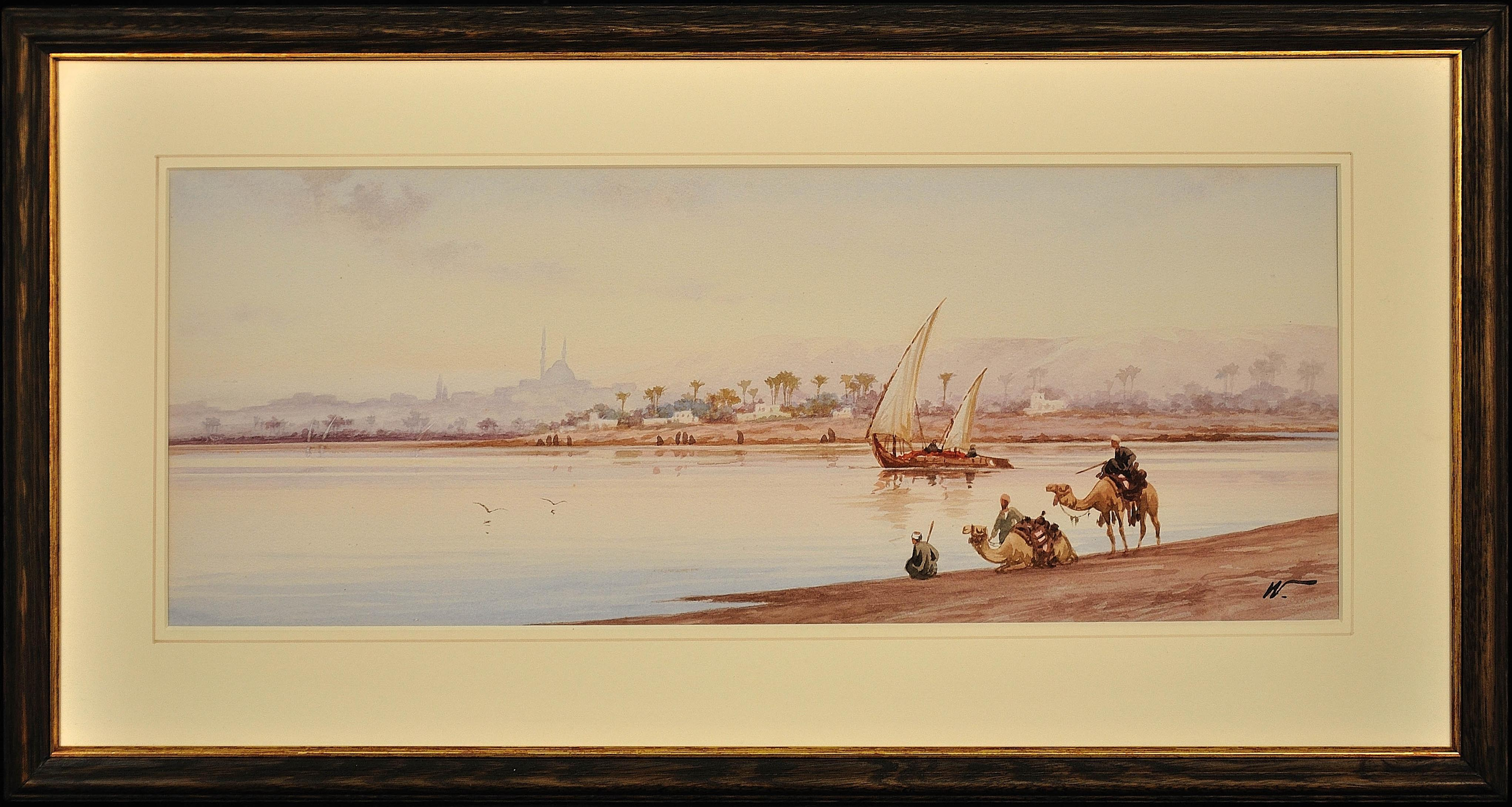 River Nile Feluccas and Camels. Egypt. American Orientalist Watercolor. Mosque.