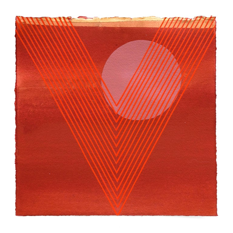 Kelly Ording Abstract Painting - Kingfisher- abstract geometric red painting on paper famed in white