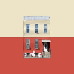 Boswijck 6- color block photograph of Brooklyn house, framed 21 x 21 inches