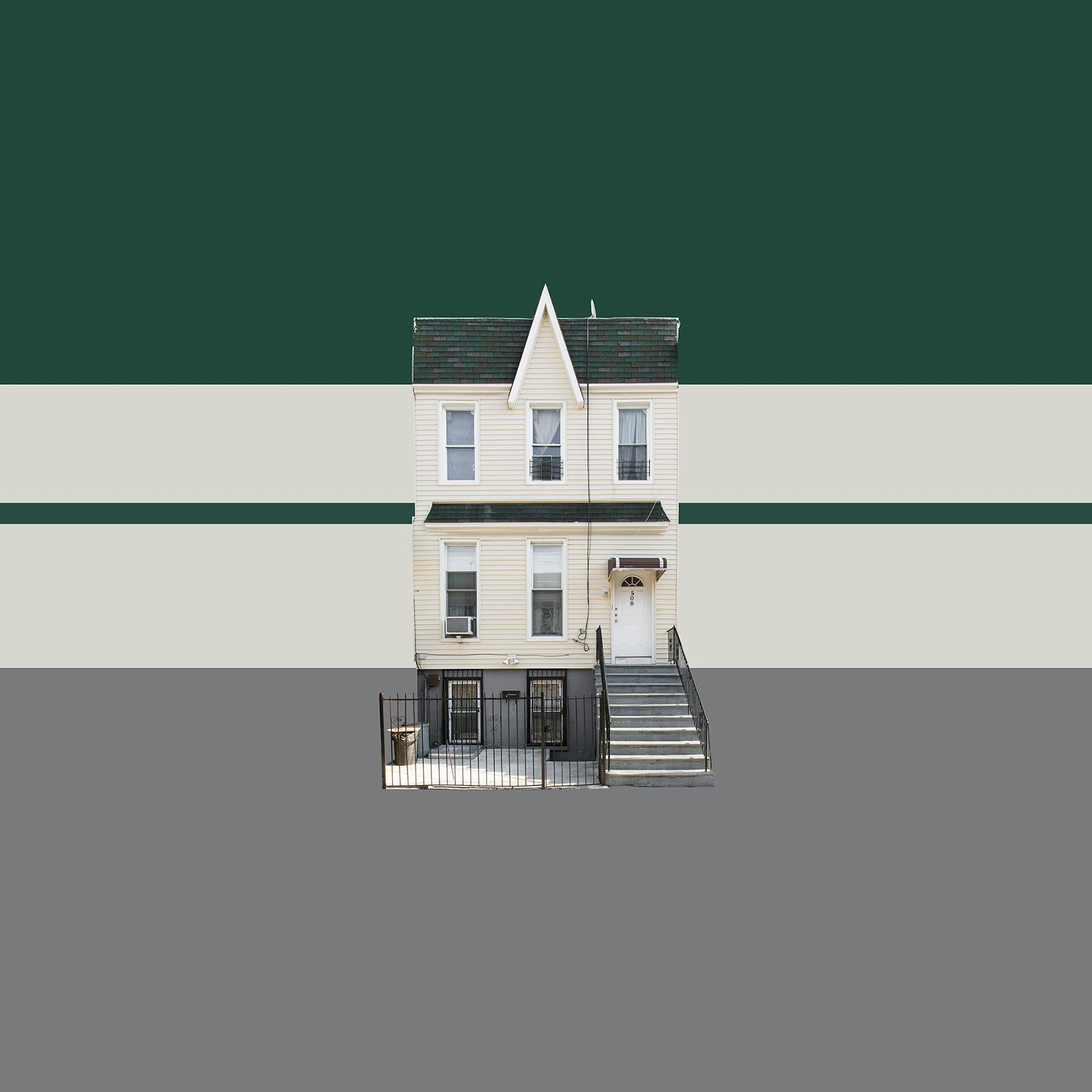 Boswijck 4 minimalist urban architecture in green photo 21 x 21 inches framed