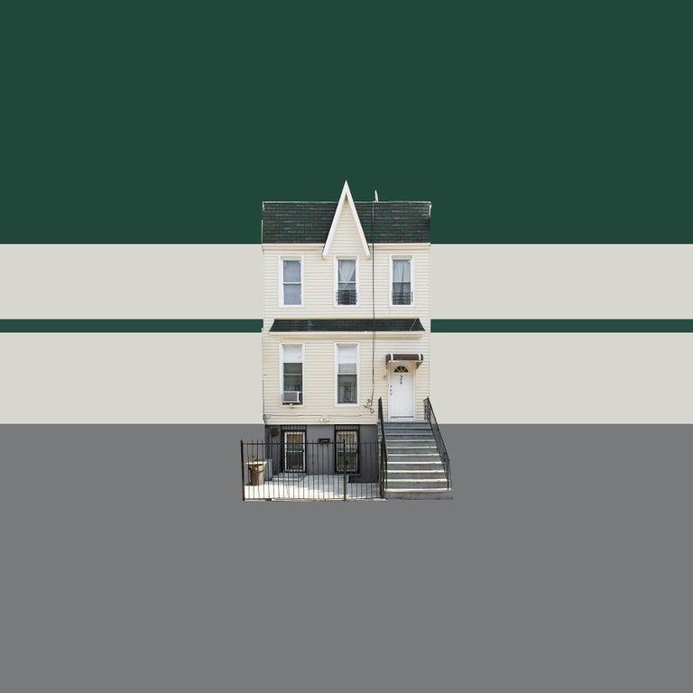 Niv Rozenberg Landscape Photograph - Boswijck 4 minimalist urban architecture in green photo 21 x 21 inches framed
