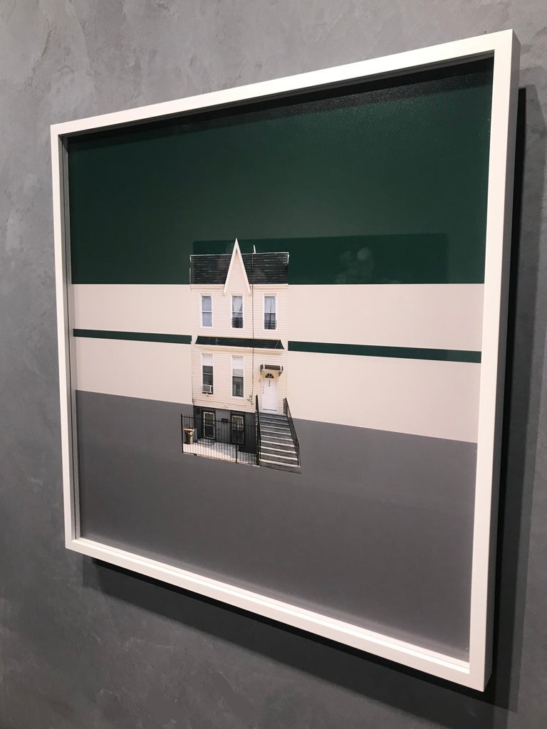 Boswijck 4 minimalist urban architecture in green photo 21 x 21 inches framed - Photograph by Niv Rozenberg