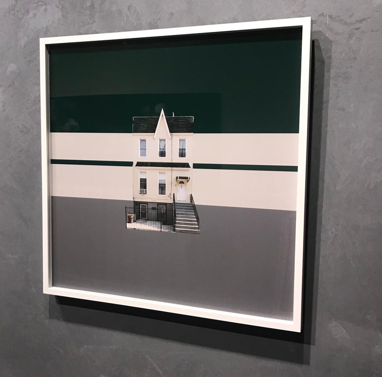 Boswijck 4 minimalist urban architecture in green photo 21 x 21 inches framed - Contemporary Photograph by Niv Rozenberg