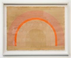 Orange Sherbert (27 x 34 inches framed,precise lines, paper, arch, geometric)