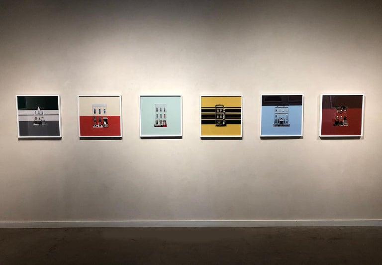 Boswijck 9- un-framed 20 x 20 inch color, minimalist photograph - Orange Color Photograph by Niv Rozenberg