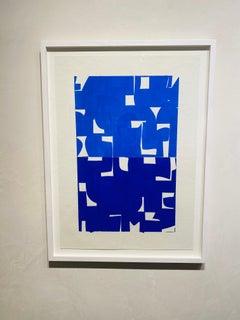 Cobalt-Ultramarine- framed blue and white gouache on handmade paper