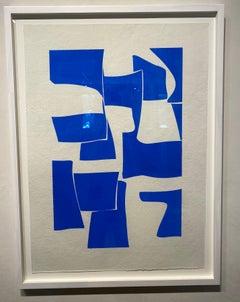 Cobalt 2- framed blue and white gouache on handmade paper
