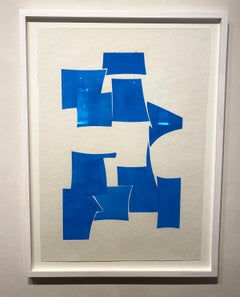 Cerulean - framed blue and white gouache on handmade paper