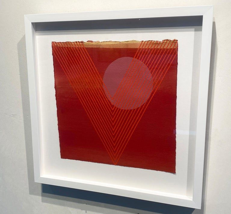Kingfisher- abstract geometric red painting on paper famed in white - Painting by Kelly Ording