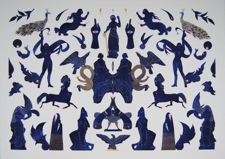 June Glasson Animal Art - Blue