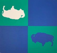 GYE Blue Green Buffalo Flag