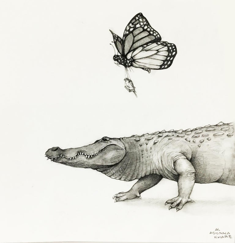 Alligator and Butterfly - Art by Adonna Khare