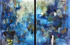 """But most like chaos III"", Robin Colodzin, abstract, mixed media, diptych, blues"