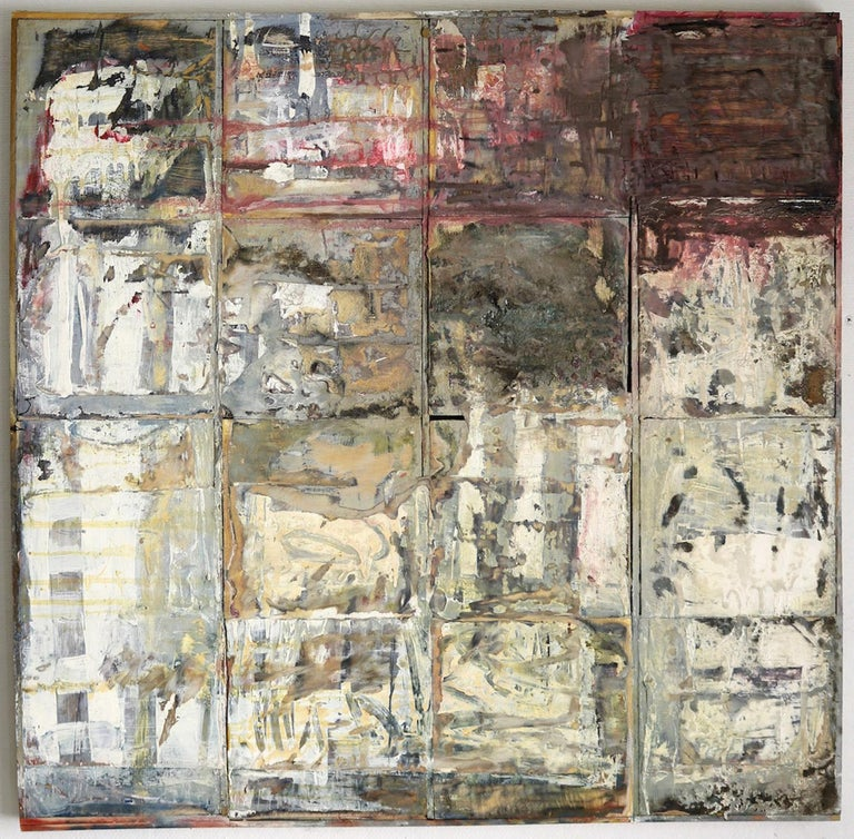 "Leslie Zelamsky's ""Four by Four"" is a 33 x 33.5 inch mixed media painting on 16 connected 8 x 8 inch wood panels. Each individual square contains a seductive, intuitive world of textures and patterns that consist of paint, stain, torn paper and"