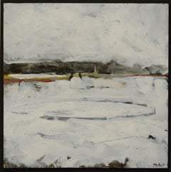 """""""Mooring IV"""", acrylic painting, abstract, landscape, industrial, white, grey"""