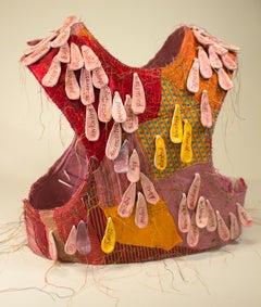 """Blush"", mixed media, sculpture, vest, ceramic, pink, red, orange"