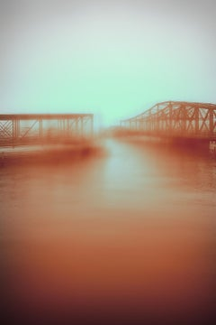 """Bridge with Raw Siena 8-32am"", photo, landscape, Boston, fog, black and white"
