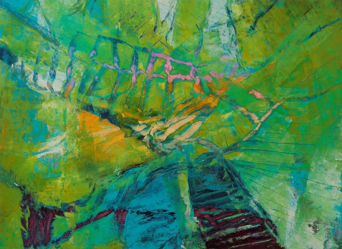 """""""Canopy"""", abstract, acrylic painting, vibrant, green, gold, teal, pink"""