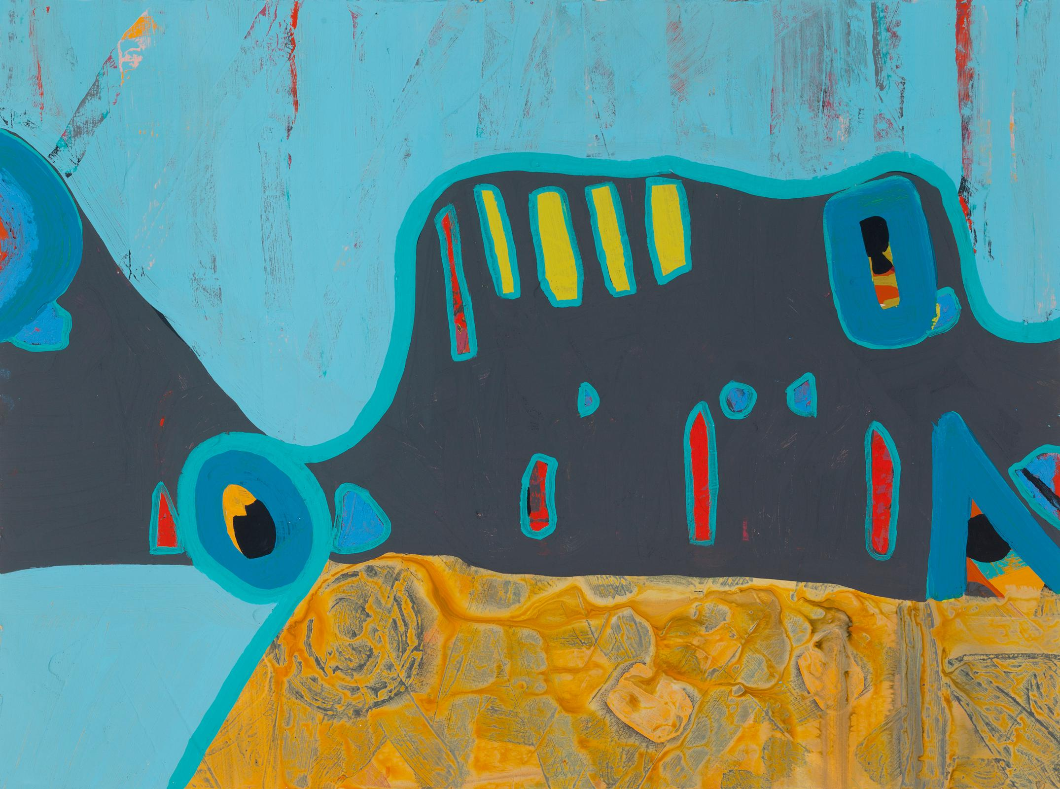 """""""It Turns on This"""", abstract, acrylic, oil pastel, grey, blue, teal"""