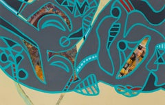 """""""Through Lines"""", acrylic painting, abstract, tigers, grey, teal"""