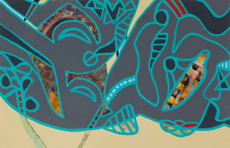 """Through Lines"", Melissa Shaak, acrylic painting, abstract, tigers, grey, teal - Mixed Media Art by Melissa Shaak"
