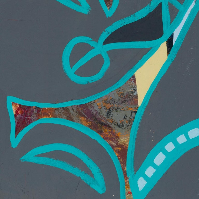 "Melissa Shaak's ""Through Lines"" is a 26 x 40 x 2 inch acrylic painting, with collaged images of tigers, on paper mounted on cradled board. The large, flat grey swaths outlined in teal appear myth-like, and the core of the piece is the interplay of"