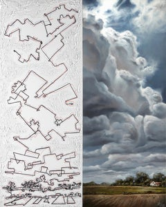 """""""Collapse: Of the Environment #3"""", oil painting, ink, geometric, landscape"""