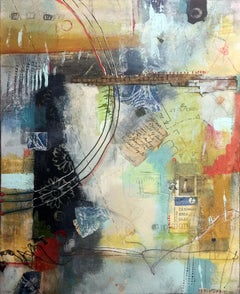 """Postal Dream Machine"", Robin Colodzin, mixed media, abstract, blue, gold, green"