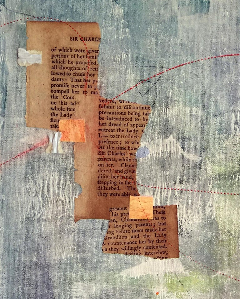 "Robin Colodzin's ""Poem to the Horizon"" is a 16 x 12 x 1 inch mixed media collage on a canvas panel created with acrylic, found paper and pencil. It suggests a distant landscape viewed over vivid blue water. At the top are scraps of printed text torn"