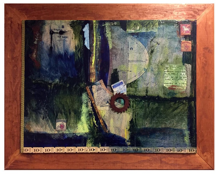 """""""Patterns"""", Robin Colodzin, mixed media, collage, abstract, blue, green - Mixed Media Art by Robin Colodzin"""