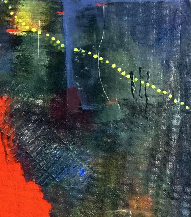 """""""Nor fire"""" by Robin Colodzin is a mixed media work on canvas panel measuring 16 x 12 inches. Vivid, flame-like red predominates, contrasting with darker blues and greens in the textured background. Yellow dotted and inky black lines dance around"""