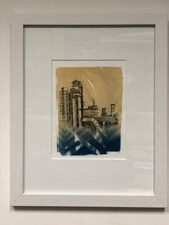 """Entanglement 12"", Marie Craig, pen, ink, cyanotype, photograph, oil refinery"