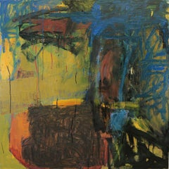 """Point of Departure"", Leslie Zelamsky, abstract, mixed media, blues, yellows"