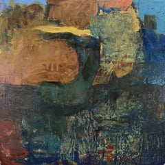 """Point of Departure 2"", Leslie Zelamsky, abstract, mixed media, blues, greens"