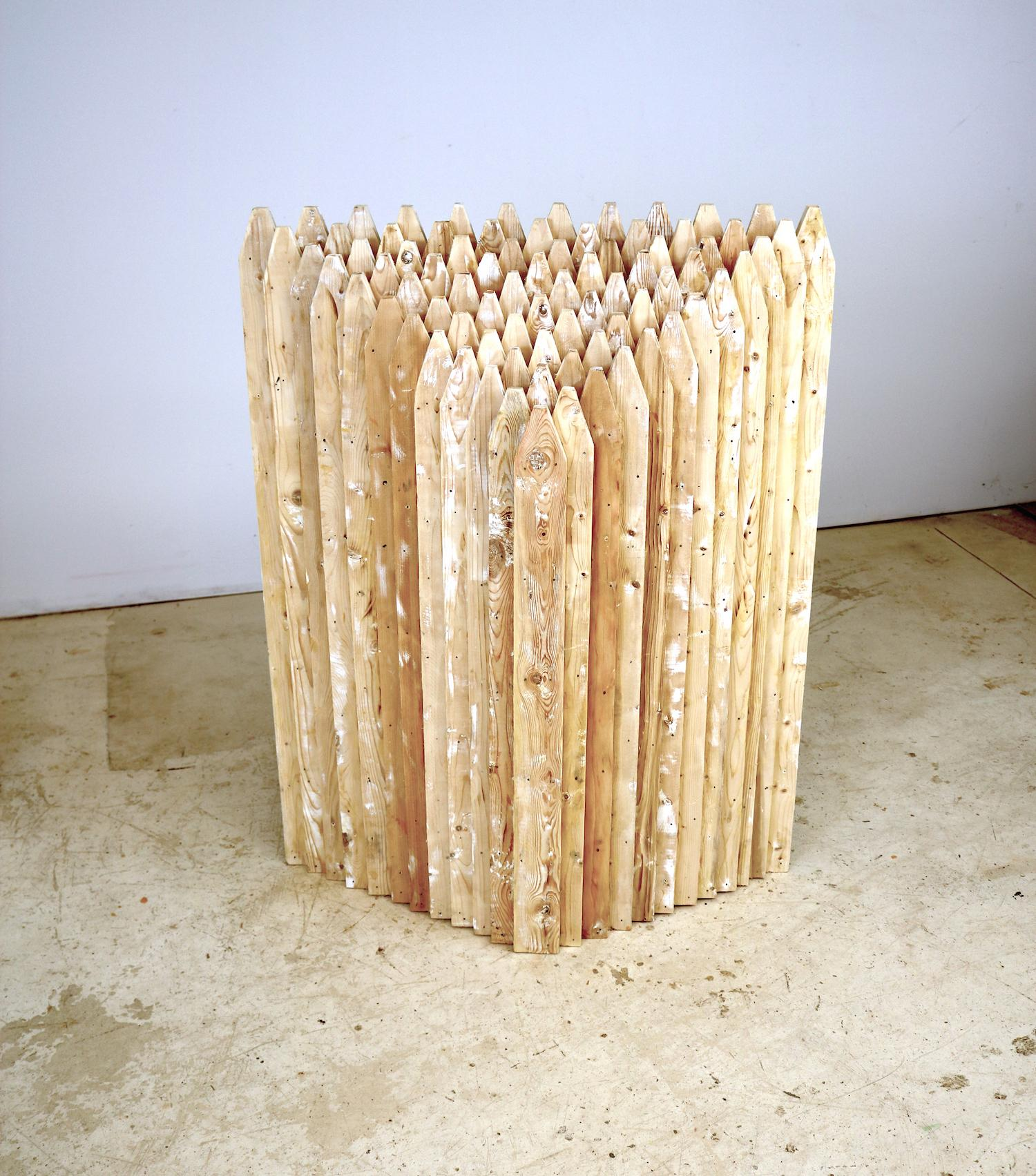 """""""Point of Departure 4"""", sculpture, wood, fence, pickets"""