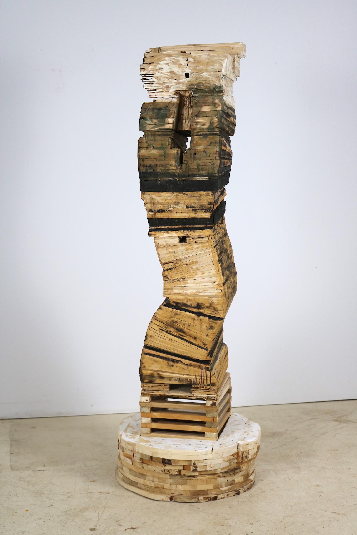"""Point of Departure 5"", sculpture, cedar, architectural"