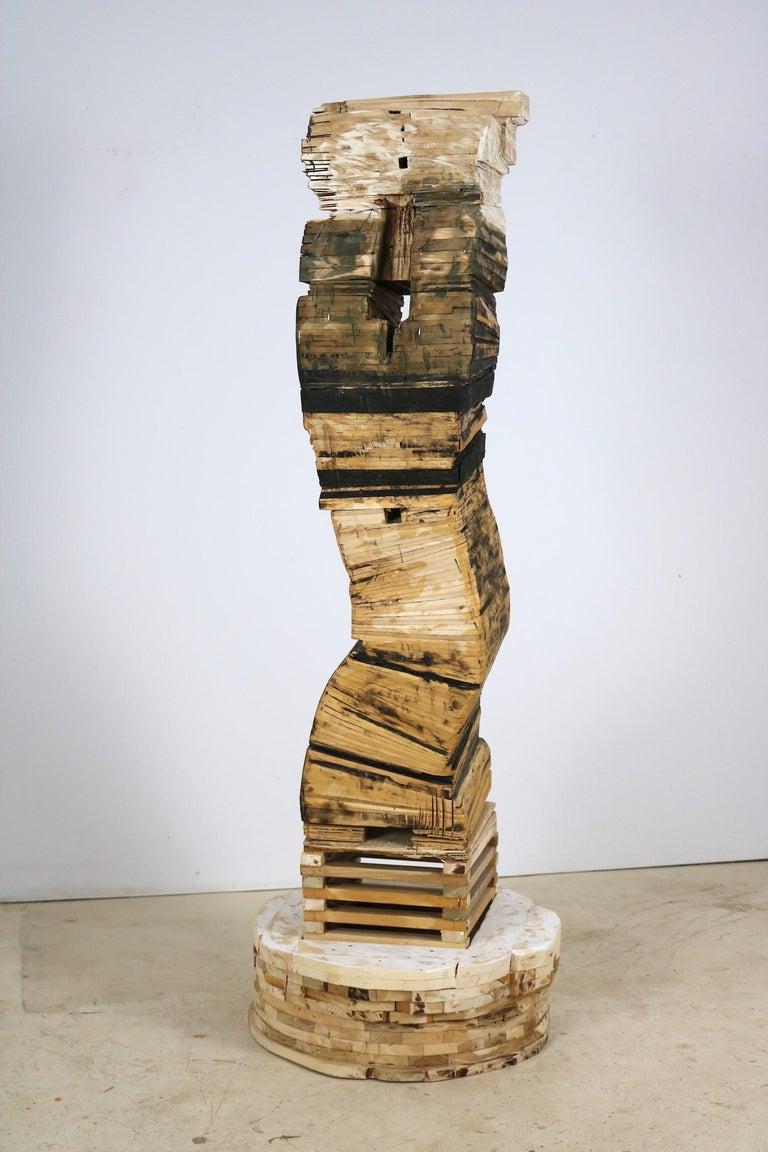 """""""Point of Departure 5"""", Leslie Zelamsky, sculpture, cedar, architectural  - Sculpture by Leslie Zelamsky"""