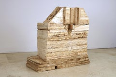 """""""Point of Departure 7"""", sculpture, wood, architectural"""