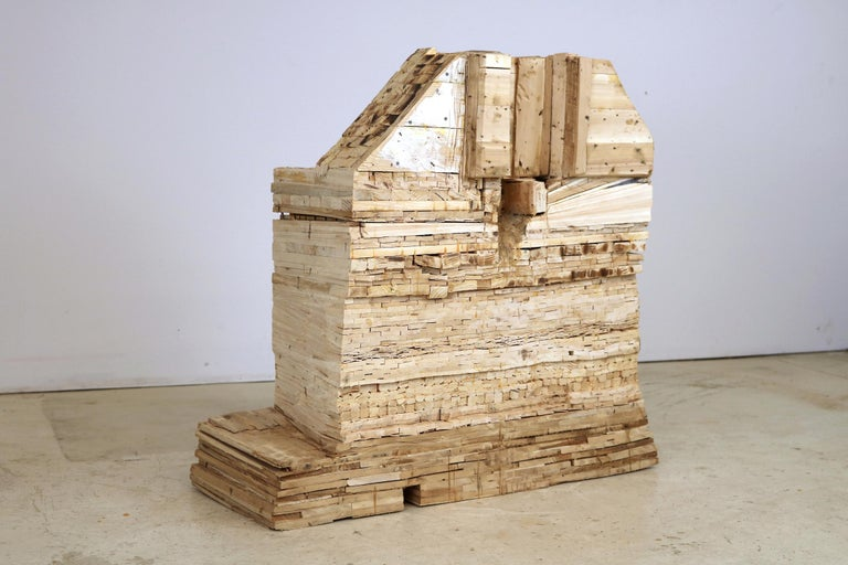 """Point of Departure 7"", Leslie Zelamsky, sculpture, wood, architectural  - Sculpture by Leslie Zelamsky"
