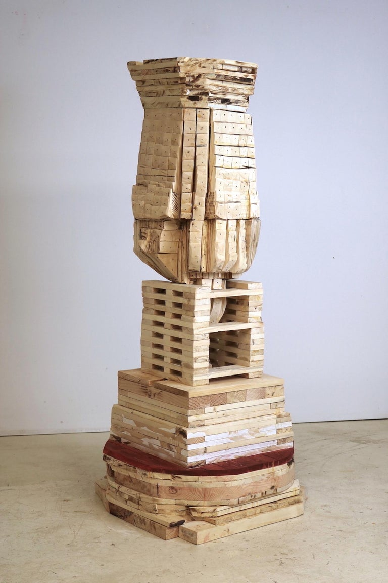 """Point of Departure 8"", sculpture, wood, architectural  - Sculpture by Leslie Zelamsky"