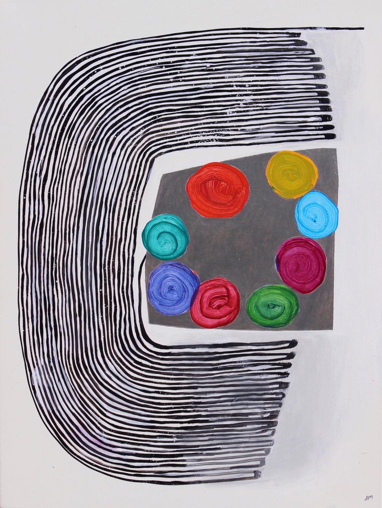 """Joel Moskowitz's """"My True Colors"""" is a playful 24 x 18 x 1.5 inch acrylic painting on a wooden panel. One continuous black line tracing back and forth creates a broad semi-circle. Drawn by hand, this curved shape evokes a fingerprint or water"""