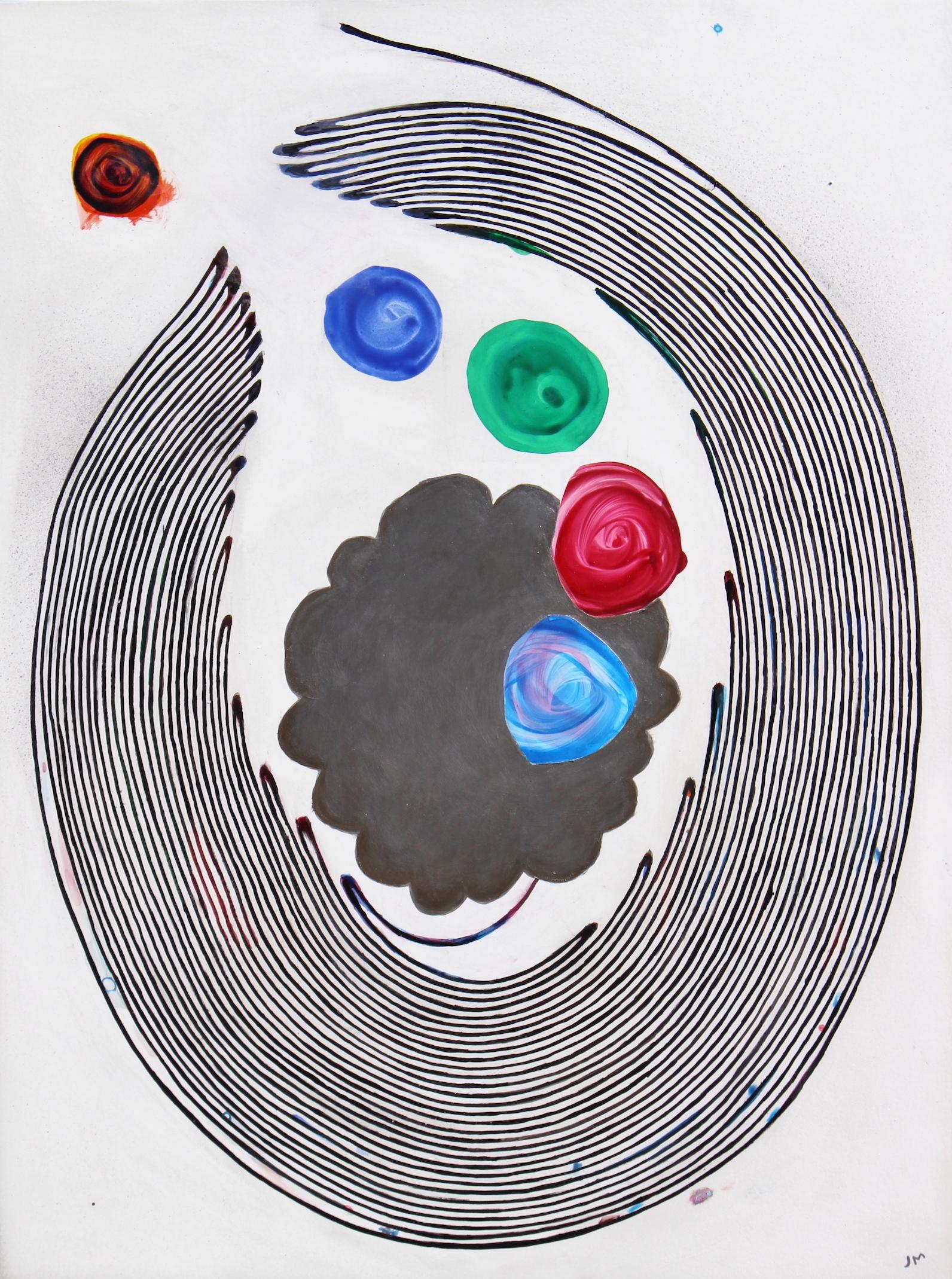 """""""Unspooling My True Colors"""", abstract, acrylic painting, colorful, silver"""