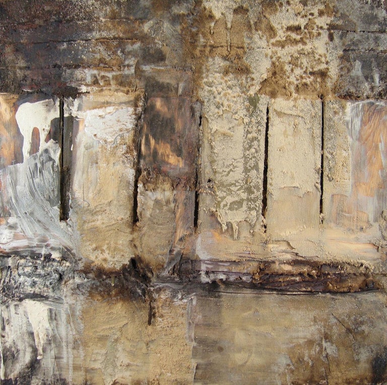 """What Remains?"" is a mixed media painting by Leslie Zelamsky. Its neutral color palette and lush surface have an earthy quality. The three dimensional surface includes sawdust, paint, tar and wood. This contemporary painting combines clearly defined"