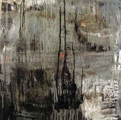 """Ayeka"", Leslie Zelamsky, oil painting, mixed media, abstract, grey, black"