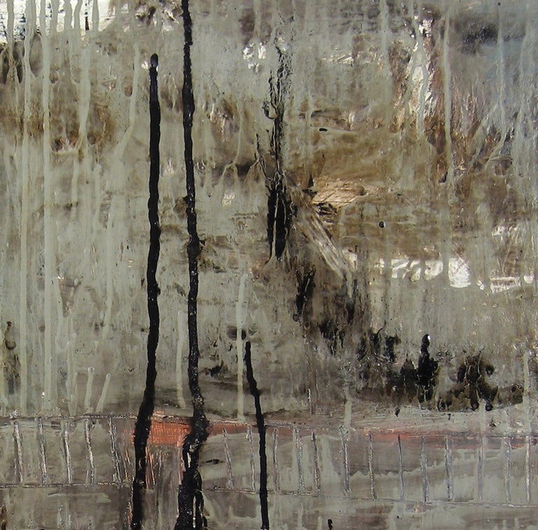 Ayeka is a mixed media painting that includes the use of stain, tar and oil paint. The neutral, rich palette of grey and black evolves from adding and removing layers of paint. The surface includes an array of drips, transparency and opaqueness.