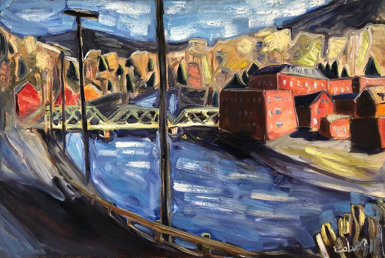 """Bob Grignaffini's 20 x 24 inch oil painting """"Shelburne Falls"""" is a winter landscape of Shelburne Falls, Massachusetts, an old New England mill town on the Deerfield River. The impressionistic approach exhibits strong brush strokes of mainly reds and"""