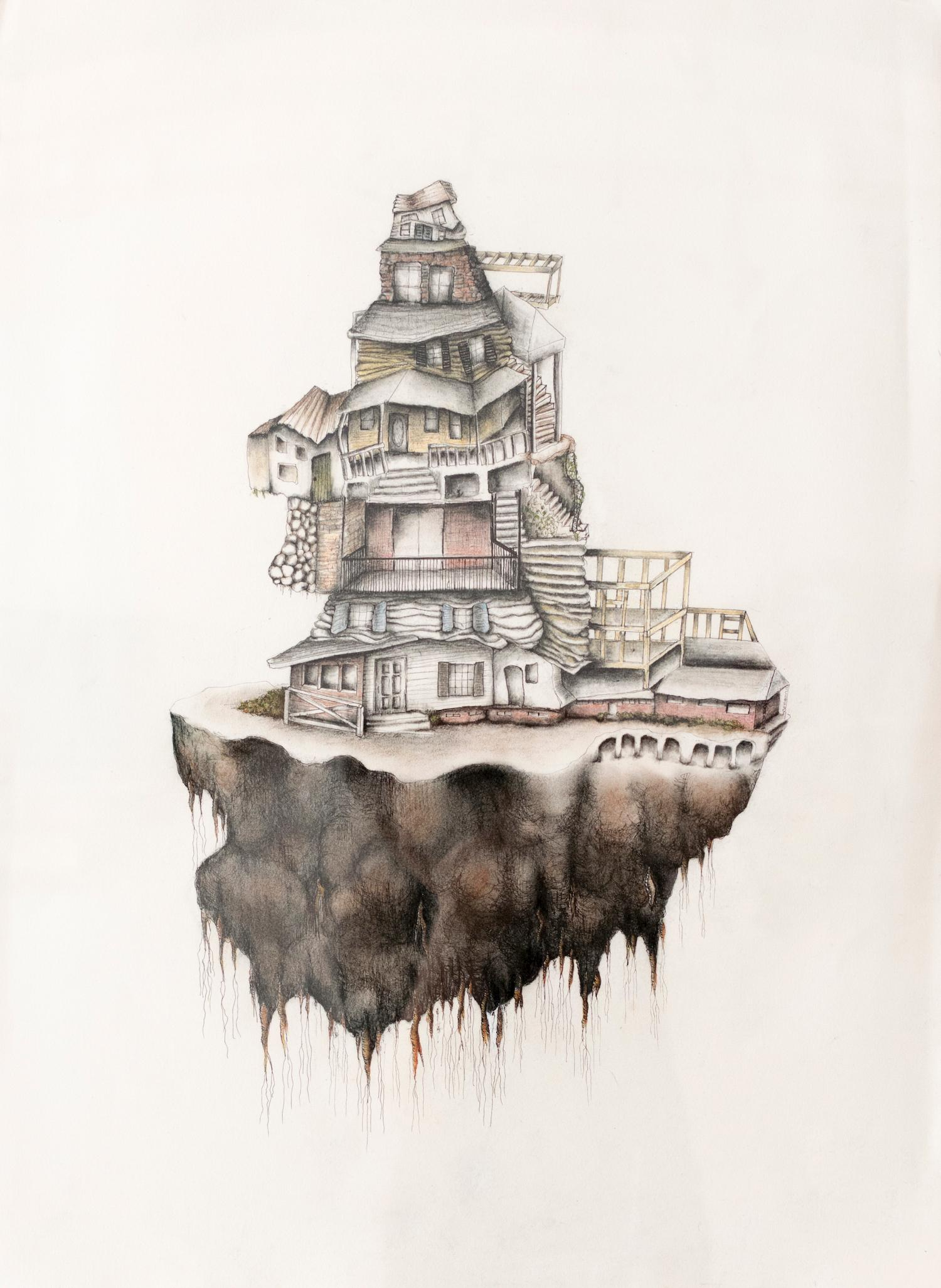 """""""Uprooted"""", mixed media, ink, charcoal, colored pencil, drawing, home"""